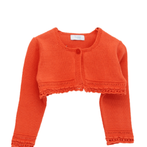 Foque Cherry Knitted Cotton Cardigan. Pale cherry cardigan for little girls by Foque, made in a soft, lightweight cotton knit. There is a single button fastening on the front.te dress for babygirls by Foque, made in soft, lightweight plumeti cotton, with a pretty orange floral print. Fully lined, in a cross-over style, it has a frilled collar and button fastenings on the front. Short cotton knit cardigan with round neckline and details worked on the sleeves and neckline. Fastens with a button in the color of the mesh. The cardigan is perfect for summer afternoons with cool breezes.