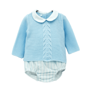 Foque BabyBoys Striped Shorts Set. Blue and white shorts set for younger boys by Foque. The knitted cotton top has a white cotton collar. The blue and white shorts have a soft, lightweight lining, with a gently elasticated waistband and cuffs for comfort.