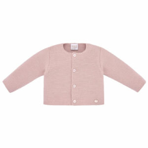 """Paz Rodriguez """"Caricias"""" Cardigan. Little girls cardigan in dusky pink, by Paz Rodriguez. Soft and lightweight, it has a round neck and fastens with logo embossed buttons."""