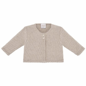 """Paz Rodriguez """"Baul"""" Cardigan. Little girls cardigan in dusky pink and beige, by Paz Rodriguez. Soft and lightweight, it has a round neck and fastens with logo embossed buttons."""