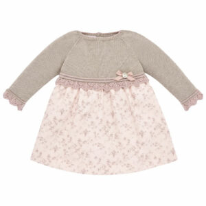 """Paz Rodriguez """"Baul"""" Dress. Beautiful dusky pink and beige dress for girls by Paz Rodriguez. The top half is knitted, in a soft knit, in a cotton and cashmere blend. The top of the dress has a mesh lace and a small bow, which complement this beautiful baby dress. The bottom of the dress, in cotton, has a fine print of small and delicate flowers on a very soft pink. The mix of dark beige and dusky pink colors is this season's trend."""