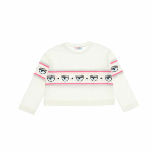 Chiara Ferragni Kids Maxi-logomania Cropped Top. White top for girls, by Chiara Ferragni Kids, in a cool cropped style. Made from soft cotton jersey, it has a white, pink and silver stripe across the chest featuring the cool Eyelike logo. The super comfort short T-shirt displays a band from the yoke to the sleeves.