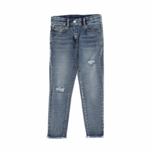 Chiara Ferragni Kids Eyestar Jeans. These practical and in-fashion regular pants in superstretch denim guarantee an excellent fit. Jeans in light blue, with stretch-cotton blend, classic five pockets. The light wash and the distressed effect stand out in these jeans. The smoothness and slim cut make these jeans very comfortable. The embroidered design and raw-cut edge enrich these Chiara Ferragni jeans, which you can combine with t-shirts or sweats.