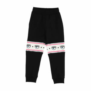 Chiara Ferragni Kids Maxi-logomania Joggers. Black joggers for girls, by Chiara Ferragni Kids. Made from soft cotton jersey, they have a pink, white and silver stripe across the knees, featuring the iconic Eyelike logo print. These jogging pants are the most comfortable and fashionable of all.