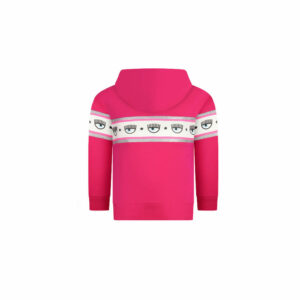 Chiara Ferragni Kids Maxi-logomania Hoodie. Update her casualwear with this girls' hoodie from Chiara Ferragni kids. Made from a soft jersey, it's designed for a pull-over shape and has a fixed hood. Finished with a white, pink and silver stripe across the chest and sleeves that is finished with the brand's statement eye print detail. Oversized line and long sleeved, closed sweatshirt, with fashion print and lurex accents.