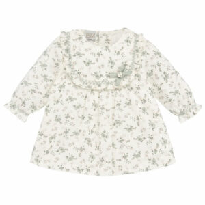 """Paz Rodriguez """"Salvia"""" Dress. Green soft cotton poplin dress for baby girls by Paz Rodriguez. With a pretty green floral print and a ruffle collar with a cute bow. It is lined with white cotton and fastens easily with buttons on the back."""