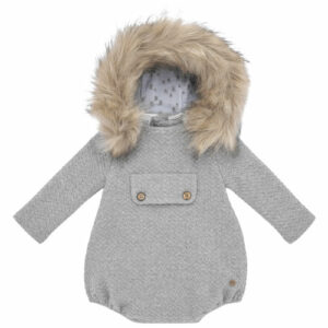 """Paz Rodriguez Shortie """"Confort"""". Grey hooded shortie for little boys and girls by Paz Rodriguez. Made with a super soft cotton blend knit. With a detachable hood and a fantastic fur make this romper extraordinary."""