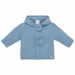 """Paz Rodriguez Pom-Pom Jacket """"Conto"""" . Cornflower blue hooded jacket for younger boys and girls by Paz Rodriguez. Knitted in warm and soft knit, it has a textured pattern and cute pom-poms on the front and hood. The brand's mother-of-pearl logo charm is by the hemline."""