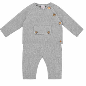 """Paz Rodriguez Set """"Confort"""". Younger boys grey trousers set from Paz Rodriguez, made in mid-weight cotton jersey with a raised zigzag pattern. The top has wooden button fastenings on one shoulder and a faux front pocket. The trousers have an elasticated waistband and turned-up cuffs."""