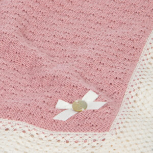 """Paz Rodriguez Cashmere Shawl """"Nostalgia"""". Beautifully soft pink cotton and cashmere blend shawl by Paz Rodriguez. This luxurious nursery accessory is soft, lightweight and stretchy, perfect to wrap baby girls in. The borders are edged in pretty white lace."""