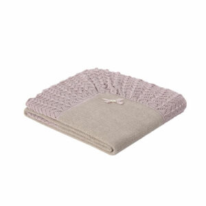 """Paz Rodriguez Beige Shawl """"Baul"""". Beautifully soft beige and pink cotton and cashmere blend shawl by Paz Rodriguez. This luxurious nursery accessory is soft and stretchy, perfect to wrap baby girls in. The borders are pink and the shawl has a mid-weight thickness."""