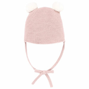 """Paz Rodriguez Pink Pom Pom Hat """"Esencial"""". Baby girls soft knitted hat by Paz Rodriguez. It has two cute ivory furry pom poms and knitted straps to tie under the chin."""