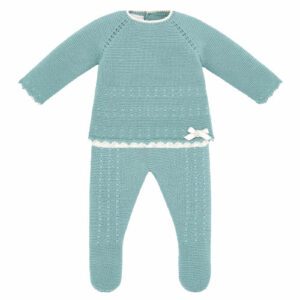 """Paz Rodriguez Girl Babysuit """"Salvia"""". Sage green three-piece babygrow for babies by Paz Rodriguez, made in softly knitted acrylic. The top has ivory scalloped edging with lace trim on the hem and the brand's mother-of-pearl logo charm on the front. The matching trousers have enclosed feet and a gently elasticated, ribbed waistband."""