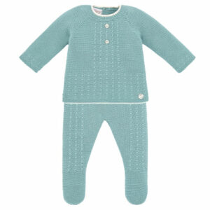 """Paz Rodriguez Green Babygrow """"Salvia"""". Green knitted two-piece babygrow for boys and girls by Paz Rodriguez. Luxuriously soft, both pieces are made with acomfort knit. The top half has ivory knitted trims, a sweet cable pattern with raised ivory dot detailing, and a pearlescent logo tag."""