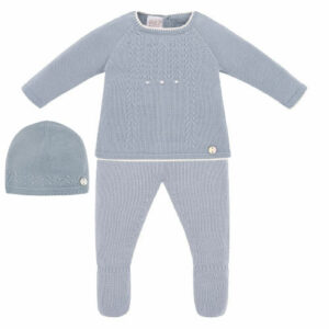 """Paz Rodriguez Blue Babygrow """"Caricias"""". Blue knitted two-piece babygrow for boys and girls by Paz Rodriguez. Luxuriously soft, both pieces are made with acomfort knit. The top half has ivory knitted trims, a sweet cable pattern with raised ivory dot detailing, and a pearlescent logo tag."""