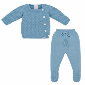 """Paz Rodriguez Blue Babygrow """"Conto"""".Cornflower blue knitted two-piece babygrow for boys and girls by Paz Rodriguez. Luxuriously soft, the top has a textured knitted design, mother-of-pearl front button fastenings, and a logo tag. The bottoms have an elasticated waist with a fixed bow and textured knit on the feet."""