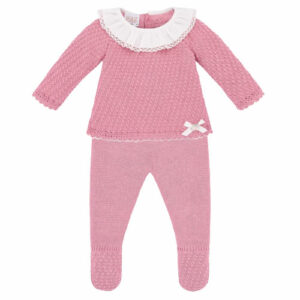 """Paz Rodriguez Girl Babysuit """"Nostalgia"""". In a luxurious cotton and cashmere blend, a dusky pink two-piece babygrow for girls by Paz Rodriguez. The top has a lovely knitted pattern, ivory scalloped trim and an ivory frilled collar with lace trim. The matching trousers have an elasticated waistband."""