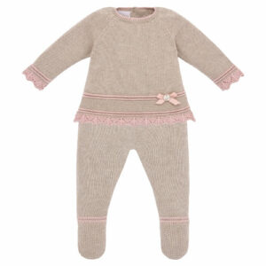 """Paz Rodriguez Girl Babysuit """"Baul"""". Gorgeously soft cotton and cashmere knit two-piece babysuit for girls by Paz Rodriguez. Fastened with buttons on the back, the top has lovely pale pink crochet trims and a logo tab on the front. The bottoms have matching pink trims and an elasticated waist. A beautiful bonnet completes this set."""