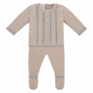 """Paz Rodriguez Beige Babygrow """"Baul"""".Dark beige knitted two-piece babygrow for baby boys and girls by Paz Rodriguez. Made in a super soft cotton cashmere blend, the top has pale blue embroidered trims and decorative buttons on the front. The bottoms have matching trims and an elasticated waist."""