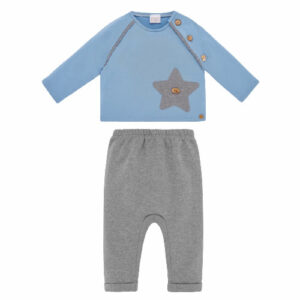 """Paz Rodriguez Boy Set """"Confort"""". Soft cotton jersey trouser set for younger boys by Paz Rodriguez. The blue top has a matching star appliqué with the pants. There are wooden button fastenings on the raglan seam. The trousers have a lovely zig-zag texture and a comfortable elasticated waistband."""