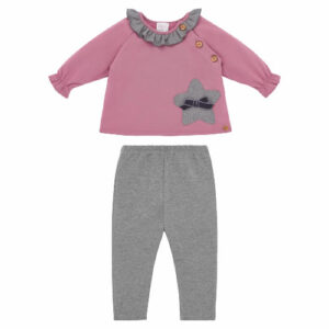 """Paz Rodriguez Pink & Grey Set """"Confort"""" . Soft cotton jersey trouser set for younger girls by Paz Rodriguez. The dusky pink top has a pretty grey ruffle collar and a matching star appliqué with a grey velvet bow. There are wooden button fastenings on the raglan seam. The trousers have a lovely zig-zag texture and a comfortable elasticated waistband."""