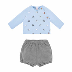 """Paz Rodriguez Blue Short Set """"Confort"""". Blue top and grey shorts set for little boys by Paz Rodriguez, made in soft, mid-weight jersey. The top is fleecy inside and has a black and white scooter print on the front. It has a black and white gingham bow trim and wooden button fastenings on one shoulder seam. The shorts have an elasticated waist and leg openings."""