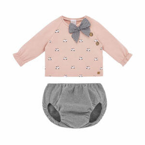 """Paz Rodriguez Blue Short Set """"Confort"""". Pink top and grey shorts set for little girls by Paz Rodriguez, made in soft, mid-weight jersey. The top is fleecy inside and has a black and white scooter print on the front. It has a black and white gingham bow trim and wooden button fastenings on one shoulder seam. The shorts have an elasticated waist and leg openings."""