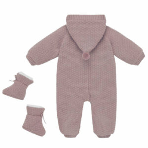 """Paz Rodriguez Pink Knit Pramsuit """"Conto"""". Beautifully cosy for baby girls, a pink hooded pramsuit and booties set by Paz Rodriguez. In a lovely patterned knit, the pramsuit has a soft ivory faux fur lining and fastens with branded mother-of-pearl buttons on the front. The matching faux fur-lined booties have knitted bows on the front."""