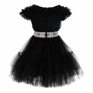 Chiara Ferragni Kids Party Tulle Dress. The fanciest dress is in impalpable silky tulle, with a logoed belt. The dress fastens with a zip on the back.