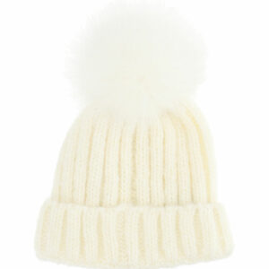 Chiara Ferragni Kids Mascotte Hat.The classic hat with a faux fur pom pom features a fun protagonist on the turn-up.