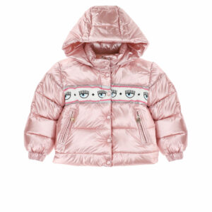 Chiara Ferragni Kids Maxi-logomania Padded Jacket. Mirror-like shiny nylon for the fun padded jacket, with a band on the yoke and buttons on the closure over the zip. Made in silky nylon with a pink satin lining, it has the brand's signature Logomania panel in white, pink, silver and blue around the chest. The jacket fastens with a zip and poppers on the front and has zip-fastening pockets, all with branded metal pulls. The hood is removable and attaches with a zip.