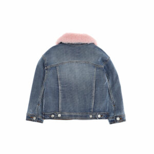 Chiara Ferragni Kids Eyestar Jeans Jacket.Mid blue soft denim jacket for girls by Chiara Ferragni Kids, with a gorgeous detachable fluffy pink collar. As well as easy metal button fastenings, it has two front pockets embroidered with a navy blue star and the brand's signature Eyelike logo. It is lined with quilted aqua blue satin. This short superstretch denim jacket with contrast topstitching features a striking collar.