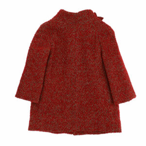 Monnalisa Kids Red Floral Coat. A must have for the winter season, this delightful wool coat for girls, features a floral collar and a delightful salt and pepper effec. Jacket with lined buttons and side pockets.