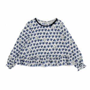 Monnalisa Kids Hearts Maxi Twill T-shirt. Wear this maxi T-shirt with flounces over legging. Beautiful print of blue hearts on this T-shirt, maxi thanks to the frill on the hem. Girls sweet ivory tunic top with a ruffled hemline. Made in soft cotton jersey.