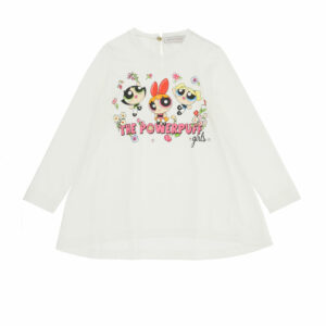 Monnalisa Kids Powerpuff Girls™ Top. A fun print on this long-sleeved cotton T-shirt, flared line. Made in soft cotton jersey. There is a colourful print of the Powerpuff Girls™ superheroes on the front with flowers and sparkly diamantés.