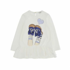 """Monnalisa Kids Maxi T-shirt """"Love"""". Fun print on this T-shirt, maxi thanks to the frill on the hem. Girls sweet ivory tunic top with a ruffled hemline. Made in soft cotton jersey, it has pretty blue, silver and white shoes printed on the front with a sparkly diamanté studded 'LOVE' lettering."""