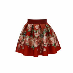 Monnalisa Kids Floral Skirt. This special skirt features an elastic basque, box pleats and a sumptuous trompe l'oeil print. Made in soft and stretchy neoprene, with a pretty pink and green floral and bow pattern.