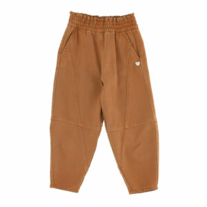 Monnalisa Kids Brown Pants. Jogging-style pants in a flowing fabric, with topstitching. Long and wide trousers with elasticated waist, in cotton gabardine, side pockets, cone leg, over fit.