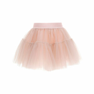 Monnalisa Kids Pink Tutu Skirt.A romantic multilayered tulle skirt with a gathered flounce, the tutu style will appeal to all girls. Dusky pink tutu skirt, made in soft tulle layers with a lightweight cotton lining. It has a tone-on-tone logo branded elasticated waistband.
