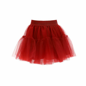 Monnalisa Kids Red Tutu Skirt. A romantic multilayered tulle skirt with a gathered flounce, the tutu style will appeal to all girls. Ruby red tutu skirt, made in soft tulle layers with a lightweight cotton lining. It has a tone-on-tone logo branded elasticated waistband.