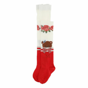 Monnalisa Kids Teddy Bear Tights.Delightful accessory for girls, these warm cotton tights accented with a degradé print and Teddy bear.