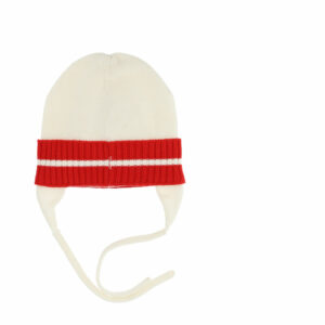 Monnalisa Kids Teddy Bear Knitted Hat. A warm knitted accessory for girls with a cute bear, pairs well with the gloves. Hat with ear protection and a drawstring to securely fasten under the chin.