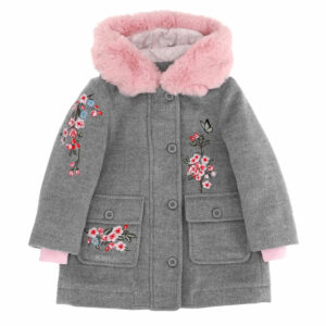 Monnalisa Kids Floral Embroidered Parka. A warm velour parka with embroidered floral branches and sumptuous faux fur trim. Perfect for cooler days, it is made in a mid-weight wool blend and is lightly padded with a quilted satin lining and ribbed wrist inserts. The hood has a super soft pink faux fur trim.