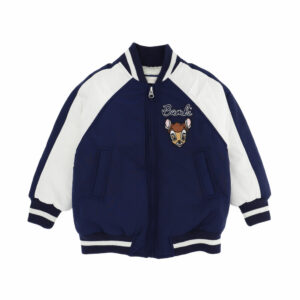 Monnalisa Kids Bambi Bomber Jacket. A bomber jacket dedicated to a beloved Disney character. Navy blue and white bomber jacket for girls, embroidered with Disney© Bambi character in beige.