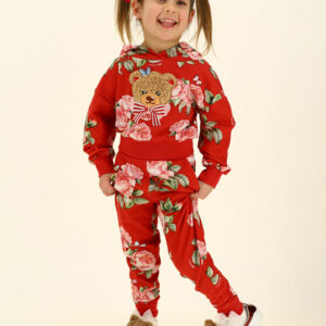 Monnalisa Kids Floral Sweatpants. Practical and fashionable cotton jogging sweatpants with cuffs. Casual red joggers for girls by Monnalisa, made in soft and stretchy cotton jersey with a fleecy inside. In a pink and green floral artwork design, they have useful front pockets, and a comfortable elasticated waistband and cuffs.