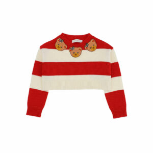 Monnalisa Kids Cropped Marinière Pullover. Glam version of striped sweaters, accented with Teddy bears all around the neck just like a necklace.