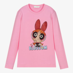 Monnalisa Kids Powerpuff Girls™ Pink Top. A fun cartoon is the protagonist of this long sleeved T-shirt. It has 'Blossom' the superhero character in red, orange and pink diamanté studs with blue lettering print on the front, made in soft cotton jersey.