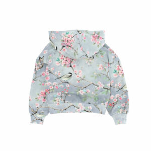 Monnalisa Kids Zip-Up Top Peach Blossom.Practical and fashionable yet romantic this sweatshirt with zip, has big pockets and a hoo and with a colourful floral and bird pattern. It would look great with leggings or jeans.