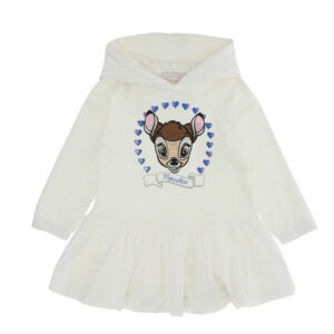 Monnalisa Kids Bambi Hooded Dress. Tender cartoon print for this short dress, embellished by a maxi ruffle on the hem, hood in contrasting fabric. It is printed with a beige Disney© Bambi motif with sparkly blue diamanté hearts on the front.
