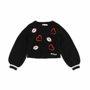 Monnalisa Kids Embroidered Knit Sweater. Delightful cropped pullover with balloon sleeves and inlay of lips and hearts. Knitted wool sweater, very comfortable and practical. The balloon sleeves make thissweater a special piece.